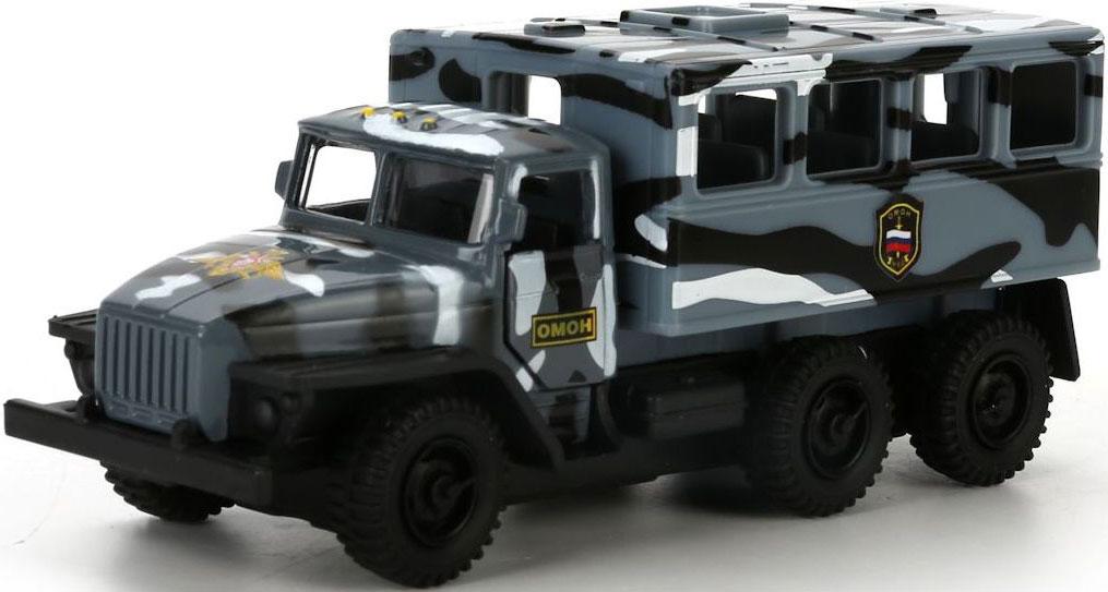 Технопарк Машинка инерционная Урал Будка Омон цвет серый камуфляж игрушка технопарк зил 130 бензовоз x600 h09131 r