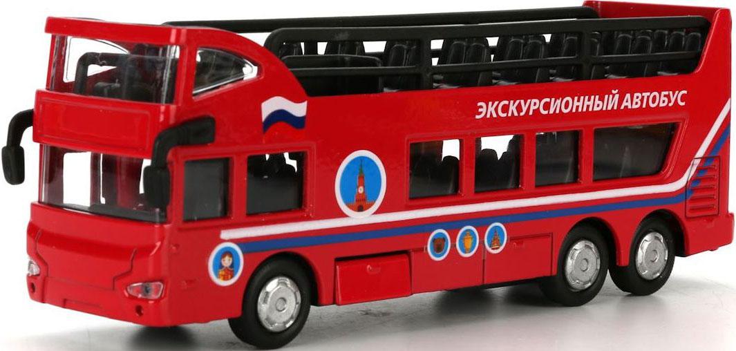 ТехноПарк Автобус инерционный экскурсионный двухэтажный спот ★ импортированные голубой автобус автобус автобус автомобиль тайо игрушка тянуть обратно автомобиль корея продукты