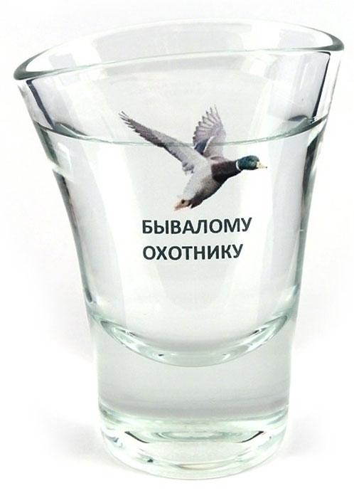 Рюмка Эврика Бывалому охотнику95393Оригинальный сувенир - стеклянная рюмка причудливой `пьяной` формы. Упаковка - пластиковая прозрачная туба. Размеры рюмки: 8х5.5х4.5 см. ВАЖНО: Вы можете заказать рюмку этого вида без картинки, со своими логотипом или надписью.