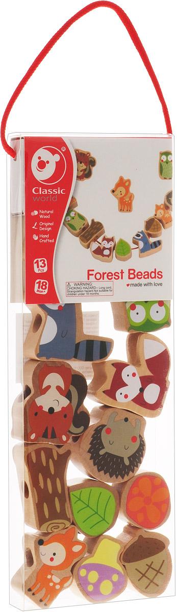 Classic World Игра-шнуровка Лесные друзья развивающая деревянная игра с заданиями карточками балансирующая пирамидка classic world