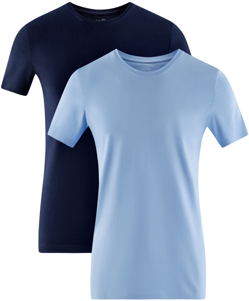 Футболка мужская oodji Basic, цвет: темно-синий, голубой, 2 шт. 5B611004T2/46737N/1903N. Размер L (52/54)5B611004T2/46737N/1903NМужская базовая футболка от oodji выполнена из эластичного хлопкового трикотажа. Модель с короткими рукавами и круглым вырезом горловины. В комплекте 2 футболки.