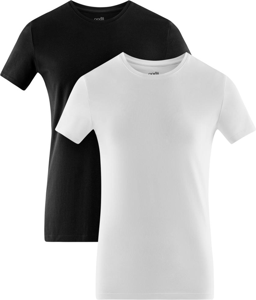 Футболка мужская oodji Basic, цвет: черный, белый, 2 шт. 5B611004T2/46737N/1900N. Размер XS (44)5B611004T2/46737N/1900NМужская базовая футболка от oodji выполнена из эластичного хлопкового трикотажа. Модель с короткими рукавами и круглым вырезом горловины. В комплекте 2 футболки.