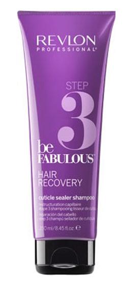 Revlon Professional Be Fabulous Hair Recovery Cuticle Sealer Shampoo Step 3 Шаг 3. Очищающий шампунь, запечатывающий кутикулу, 250 мл7222465000Профессиональный шампунь для восстановления сухих и сильно поврежденных волос испанского бренда Revlon Professional. Представляет собой 3-й этап программы восстановления волос, запечатывает кутикулу волоса, продлевая эффект лечения. Содержит креатин, кератин, белки и бетаин.Применение: нанести небольшой объем очищающего шампуня, запечатывающего кутикулу, Revlon, вспенить, тщательно промыть теплой водой. Для достижения эффекта восстановленных здоровых волос рекомендуется дополнительное использование маски с кератином и кондиционера серии Be Fabulous Revlon.Объем: 250 мл