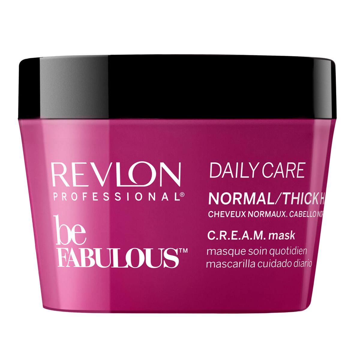 Revlon Professional Be Fabulous C.R.E.A.M. Mask For Normal Thick Hair Маска для нормальных/густых волос, 200 мл7222472000Универсальная питающая маска для нормальных или густых волос испанского бренда Revlon Professioanal. Предназначена для питающего ухода, обладает мультиухаживающим эффектом: обеспечивает сохранение цвета, восстановление, блеск, антивозрастной эффект и увлажнение. Не утяжеляет и не склеивает волосы. Облегчает процесс расчесывания и укладки.Применение: нанести маску для нормальных и густых волос Revlon по всей длине волос, оставить на 3-5 минут, тщательно промыть теплой водой. Для достижения эффекта профессионально ухоженных сияющих волос рекомендуется дополнительное использование очищающего шампуня и кондиционера для нормальных или густых волос серии Be Fabulous Cream Revlon.Объем: 200 мл