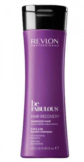 Revlon Professional Be Fabulous C.R.E.A.M. Keratin Shampoo Очищающий шампунь с кератином, 250 мл7222473000Профессиональный шампунь с кератином для ослабленных волос испанского бренда Revlon Professioanal. Содержит QUATERNIUM-22, кератин, пантенол, витамин Е и бетаин. Предназначен для ежедневного мягкого очищения ослабленных и поврежденных волос, обладает мультиухаживающим эффектом: обеспечивает сохранение цвета (за счет комплекса УФ-фильтров), восстановление (кератин в составе), блеск без утяжеления (благодаря пантенолу), антивозрастной эффект (витамин Е) и увлажнение (бетаин). Имеет приятное сочетание ароматов бергамота, мускуса, фрезии.Применение: нанести небольшой объем очищающего шампуня с кератином Revlon, вспенить, тщательно промыть теплой водой. Для достижения эффекта профессионально ухоженных сияющих волос рекомендуется дополнительное использование кондиционера и сыворотки с кератином серии Be Fabulous Cream Revlon.Объем: 250 мл