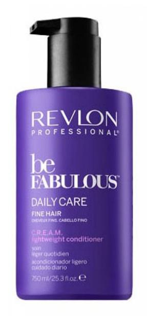 Revlon Professional Be Fabulous C.R.E.A.M. Conditioner For Fine Hair Кондиционер для тонких волос, 750 мл7222476000Мультиухаживающий кондиционер для тонких волос испанского бренда Revlon Professioanal. Содержит QUATERNIUM-22, кератин, пантенол, витамин Е и бетаин. Предназначен для ежедневного ухода, обладает мультиухаживающим эффектом: обеспечивает сохранение цвета (за счет комплекса УФ-фильтров), восстановление (кератин в составе), блеск без утяжеления (благодаря пантенолу), антивозрастной эффект (витамин Е) и увлажнение (бетаин). Имеет приятное сочетание ароматов бергамота, мускуса, фрезии.Применение: нанести небольшой объем кондиционера для тонких волос Revlon, оставить на 1-2 минуты, тщательно промыть теплой водой. Для достижения эффекта профессионально ухоженных сияющих волос рекомендуется дополнительное использование очищающего шампуня и маски для тонких волос серии Be Fabulous Cream Revlon.Объем: 750 мл