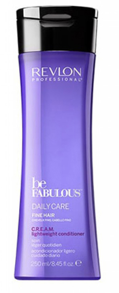 Revlon Professional Be Fabulous C.R.E.A.M. Conditioner For Fine Hair Кондиционер для тонких волос, 250 мл7222479000Мультиухаживающий кондиционер для тонких волос испанского бренда Revlon Professioanal. Содержит QUATERNIUM-22, кератин, пантенол, витамин Е и бетаин. Предназначен для ежедневного ухода, обладает мультиухаживающим эффектом: обеспечивает сохранение цвета (за счет комплекса УФ-фильтров), восстановление (кератин в составе), блеск без утяжеления (благодаря пантенолу), антивозрастной эффект (витамин Е) и увлажнение (бетаин). Имеет приятное сочетание ароматов бергамота, мускуса, фрезии.Применение: нанести небольшой объем кондиционера для тонких волос Revlon, оставить на 1-2 минуты, тщательно промыть теплой водой. Для достижения эффекта профессионально ухоженных сияющих волос рекомендуется дополнительное использование очищающего шампуня и маски для тонких волос серии Be Fabulous Cream Revlon.Объем: 750 мл