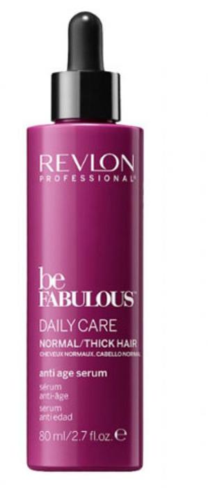 Revlon Professional Be Fabulous C.R.E.A.M. Anti-Age Serum For Normal Thick Hair Антивозрастная сыворотка для нормальных/густых волос, 80 мл7222484000Антивозрастная сыворотка для нормальных или густых волос испанского бренда Revlon Professioanal. Предназначена для питающего восстанавливающего ухода, обладает мультиухаживающим эффектом: обеспечивает сохранение цвета, восстановление, блеск, антивозрастной эффект и увлажнение. Не утяжеляет и не склеивает волосы. Облегчает процесс расчесывания и укладки.Применение: нанести сыворотку для нормальных и густых волос Revlon по всей длине волос, не смывать. Для достижения эффекта профессионально ухоженных сияющих волос рекомендуется дополнительное использование очищающего шампуня и кондиционера для нормальных или густых волос серии Be Fabulous Cream Revlon.Объем: 80 мл
