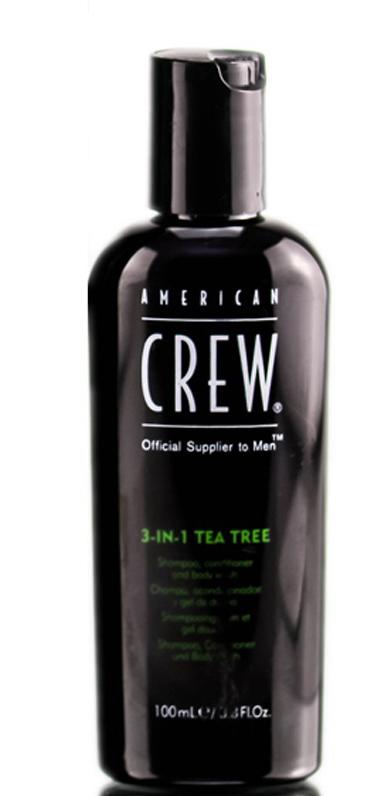 American Crew Tea Tree 3-in-1 Средство 3 в 1 Шампунь, Кондиционер и Гель для душа Чайное дерево, 100 мл7240519000p>Любите универсальные продукты для принятия водных процедур? Тогда вам непременно понравится разработка мастеров торговой марки American Crew! Средство для ухода за волосами и телом Чайное дерево совместило в себе преимущества геля для душа, шампуня и кондиционера. Отличный выбор для тех, кто постоянно опаздывает на работу или часто путешествует!Продукт содержит масло чайного дерева, которое отличается мощным дезинфицирующим действием. Экстракты хмеля и шалфея бережно ухаживают за волосами, даря им шелковистую мягкость, ослепительный блеск и силу. Продукт обладает насыщенным ароматом, который будет радовать своей свежестью до 8 часов! Настоящая находка для тех, кто обожает окружать себя стойкими ароматами. Средство обладает мягкой сбалансированной формулой и подходит для частого применения.Применение: нанести небольшое количество шампуня на мокрые волосы и кожу головы, остановить, после чего тщательно смыть водой. При необходимости повторить. Избегать контакта с глазами. Объем: 100 мл