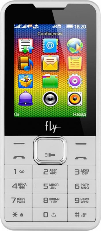 Fly FF243, White9475Мобильный телефон Fly FF243 оснащен 2,4-дюймовым полноцветным дисплеем, удобным для повседневного использования. Применение технологии TN QVGA делает изображение на нем ярким и контрастным в любой ситуации.Встроенное ПО устройства позволяет воспроизводить аудио- и видеофайлы в популярных форматах, а также прослушивать любимые радиопередачи. Мультимедийные файлы можно записывать на карту памяти microSD емкостью до 16 Гб.Полного заряда аккумулятора хватает на 5 часов непрерывного разговора или 300 часов работы в режиме ожидания.Телефон оснащен камерой на 0,3 Мпикс с функцией записи видео, а также Bluetooth-модулем, предназначенным для беспроводной передачи данных.Поддержка двух SIM-карт позволяет использовать телефон в качестве личного и рабочего одновременно. Кроме того, с двумя SIM-картами можно уменьшать расходы, управляя тарифными планами различных мобильных операторов.Телефон сертифицирован EAC и имеет русифицированную клавиатуру, меню и Руководство пользователя.