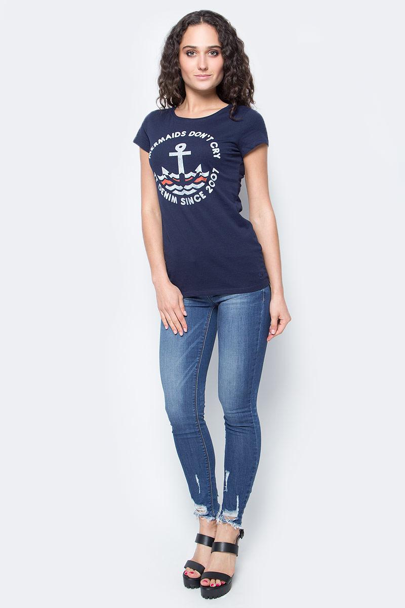 Футболка женская Tom Tailor Denim, цвет: темно-синий. 1037264.01.71_6593. Размер M (46) футболка tom tailor denim tom tailor denim to793ewpzf86