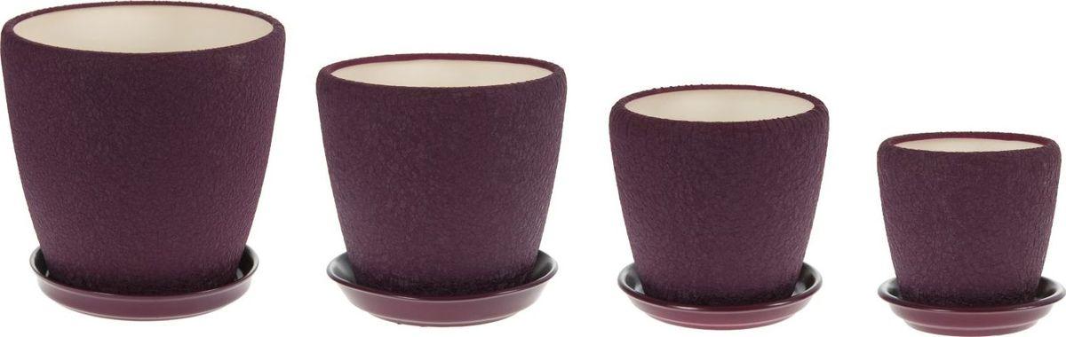 Набор кашпо Керамика ручной работы Грация, цвет: фиолетовый, 4 предмета1099329Комнатные растения — всеобщие любимцы. Они радуют глаз, насыщают помещение кислородом и украшают пространство. Каждому из них необходим свой удобный и красивый дом. Кашпо из керамики прекрасно подходят для высадки растений: за счёт пластичности глины и разных способов обработки существует великое множество форм и дизайновпористый материал позволяет испаряться лишней влагевоздух, необходимый для дыхания корней, проникает сквозь керамические стенки! #name# позаботится о зелёном питомце, освежит интерьер и подчеркнёт его стиль.