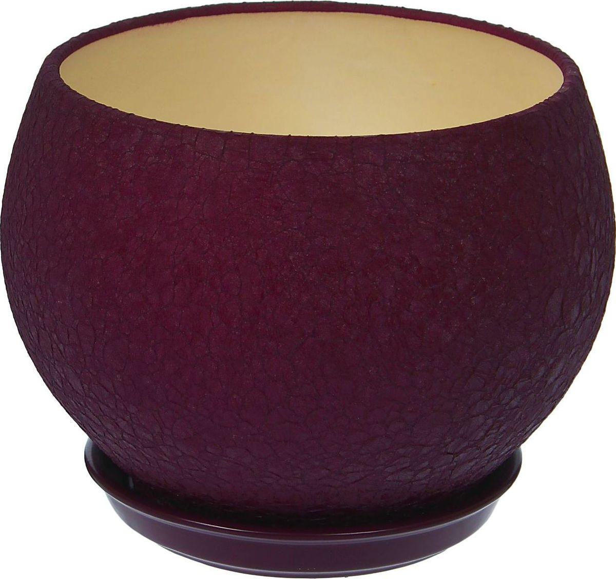 Кашпо Керамика ручной работы Шар, цвет: фиолетовый, 4,1 л1099354Комнатные растения — всеобщие любимцы. Они радуют глаз, насыщают помещение кислородом и украшают пространство. Каждому из них необходим свой удобный и красивый дом. Кашпо из керамики прекрасно подходят для высадки растений: за счёт пластичности глины и разных способов обработки существует великое множество форм и дизайновпористый материал позволяет испаряться лишней влагевоздух, необходимый для дыхания корней, проникает сквозь керамические стенки! #name# позаботится о зелёном питомце, освежит интерьер и подчеркнёт его стиль.