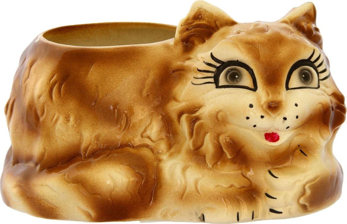 Кашпо Керамика ручной работы Кот, цвет: коричневый, 2 л