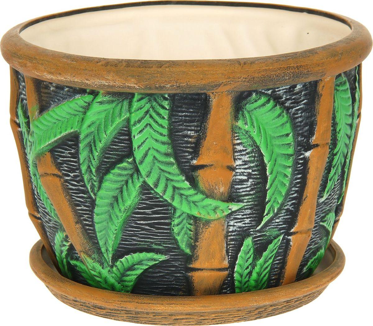 Кашпо Керамика ручной работы Бамбук, 11 л. 11142421114242Комнатные растения — всеобщие любимцы. Они радуют глаз, насыщают помещение кислородом и украшают пространство. Каждому из них необходим свой удобный и красивый дом. Кашпо из керамики прекрасно подходят для высадки растений: за счёт пластичности глины и разных способов обработки существует великое множество форм и дизайновпористый материал позволяет испаряться лишней влагевоздух, необходимый для дыхания корней, проникает сквозь керамические стенки! #name# позаботится о зелёном питомце, освежит интерьер и подчеркнёт его стиль.