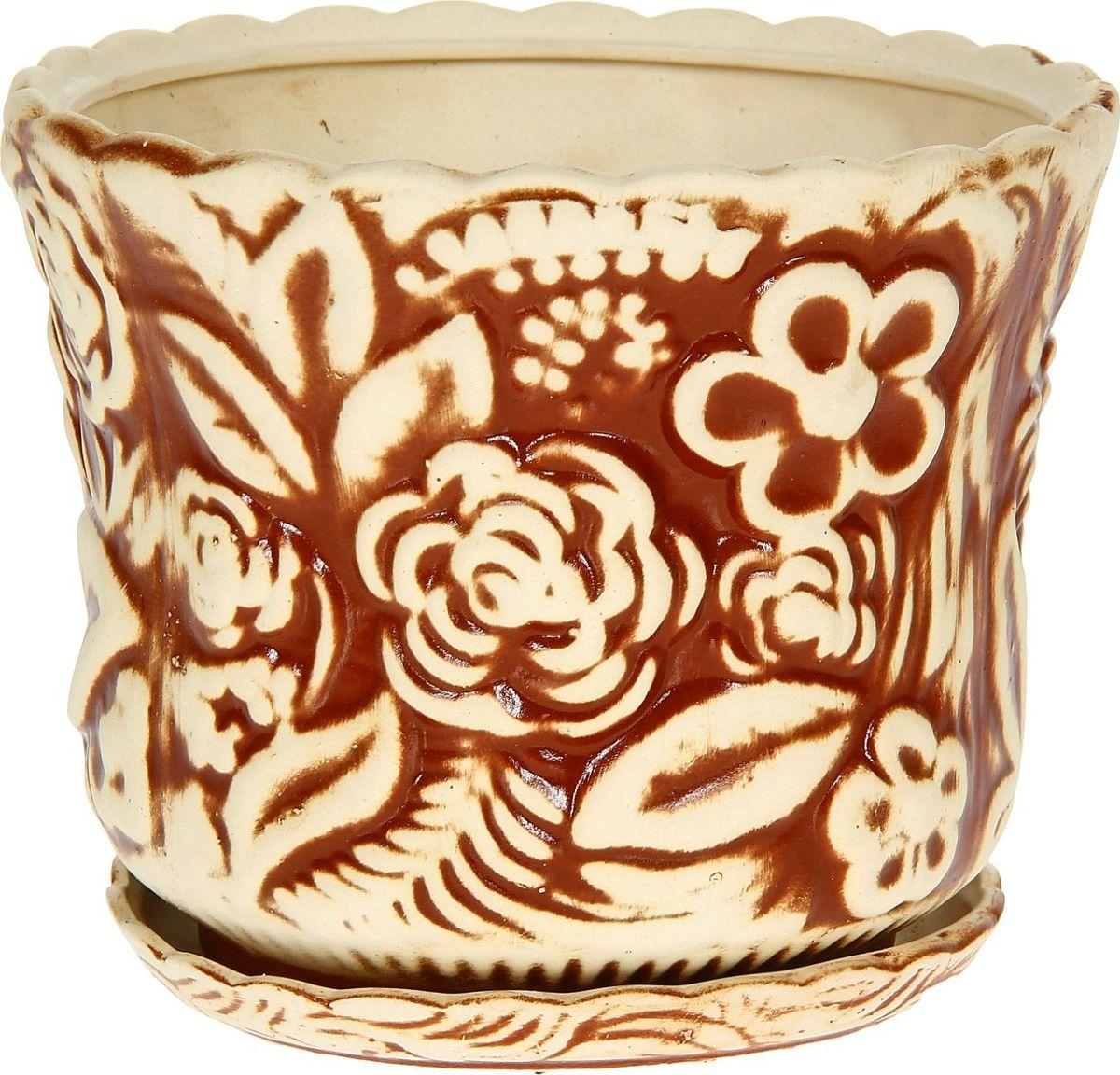 Кашпо Керамика ручной работы Букет, цвет: коричневый, 5 л1114252Комнатные растения — всеобщие любимцы. Они радуют глаз, насыщают помещение кислородом и украшают пространство. Каждому из них необходим свой удобный и красивый дом. Кашпо из керамики прекрасно подходят для высадки растений: за счёт пластичности глины и разных способов обработки существует великое множество форм и дизайновпористый материал позволяет испаряться лишней влагевоздух, необходимый для дыхания корней, проникает сквозь керамические стенки! #name# позаботится о зелёном питомце, освежит интерьер и подчеркнёт его стиль.