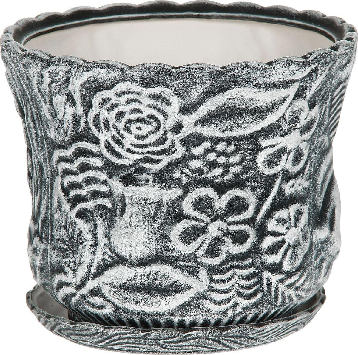 Кашпо Керамика ручной работы Букет, цвет: черный, белый, 5 л1114253