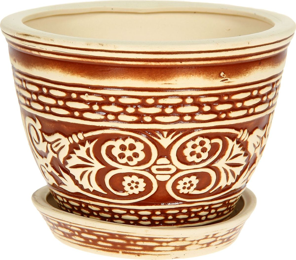 Кашпо Керамика ручной работы Венеция, цвет: коричневый, 4 л1114256Комнатные растения — всеобщие любимцы. Они радуют глаз, насыщают помещение кислородом и украшают пространство. Каждому из них необходим свой удобный и красивый дом. Кашпо из керамики прекрасно подходят для высадки растений: за счёт пластичности глины и разных способов обработки существует великое множество форм и дизайновпористый материал позволяет испаряться лишней влагевоздух, необходимый для дыхания корней, проникает сквозь керамические стенки! #name# позаботится о зелёном питомце, освежит интерьер и подчеркнёт его стиль.