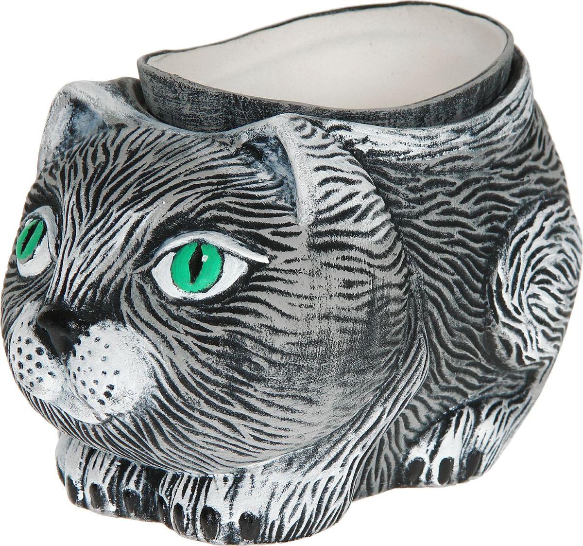Кашпо Керамика ручной работы Серый котик, 1 л1114292