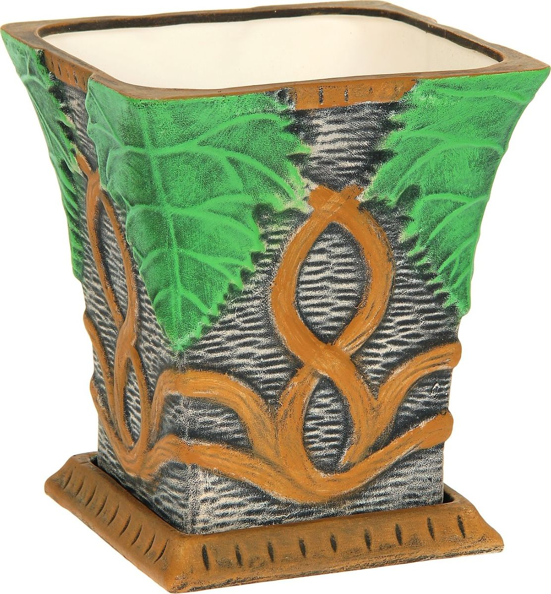 Кашпо Керамика ручной работы Лоза, 6 л1114299Комнатные растения — всеобщие любимцы. Они радуют глаз, насыщают помещение кислородом и украшают пространство. Каждому из них необходим свой удобный и красивый дом. Кашпо из керамики прекрасно подходят для высадки растений: за счет пластичности глины и разных способов обработки существует великое множество форм и дизайнов пористый материал позволяет испаряться лишней влаге воздух, необходимый для дыхания корней, проникает сквозь керамические стенки! Позаботится о зеленом питомце, освежит интерьер и подчеркнет его стиль.