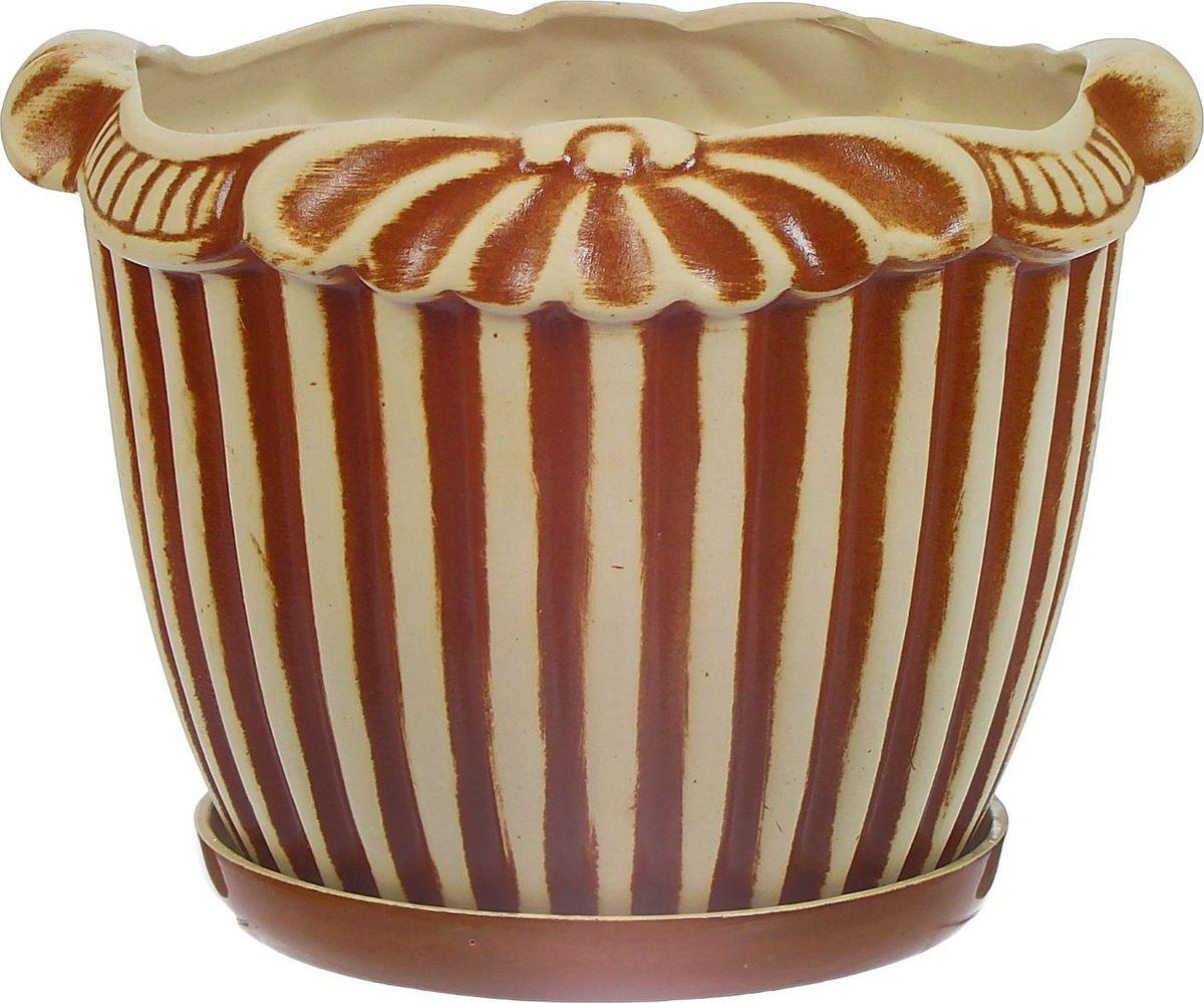 Кашпо Керамика ручной работы Римский, цвет: коричневый, 9 л1114300Комнатные растения — всеобщие любимцы. Они радуют глаз, насыщают помещение кислородом и украшают пространство. Каждому из них необходим свой удобный и красивый дом. Кашпо из керамики прекрасно подходят для высадки растений: за счёт пластичности глины и разных способов обработки существует великое множество форм и дизайновпористый материал позволяет испаряться лишней влагевоздух, необходимый для дыхания корней, проникает сквозь керамические стенки! #name# позаботится о зелёном питомце, освежит интерьер и подчеркнёт его стиль.