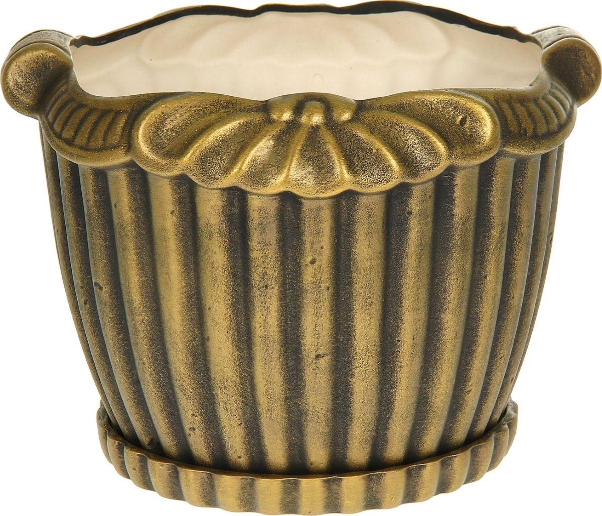 Кашпо Керамика ручной работы Римское, 9 л1114301Комнатные растения - всеобщие любимцы. Они радуют глаз, насыщают помещение кислородом и украшают пространство. Каждому из них необходим свой удобный и красивый дом. Кашпо из керамики прекрасно подходит для высадки растений: за счет пластичности глины и разных способов обработки существует великое множество форм и дизайнов; пористый материал позволяет испаряться лишней влаге; воздух, необходимый для дыхания корней, проникает сквозь керамические стенки.
