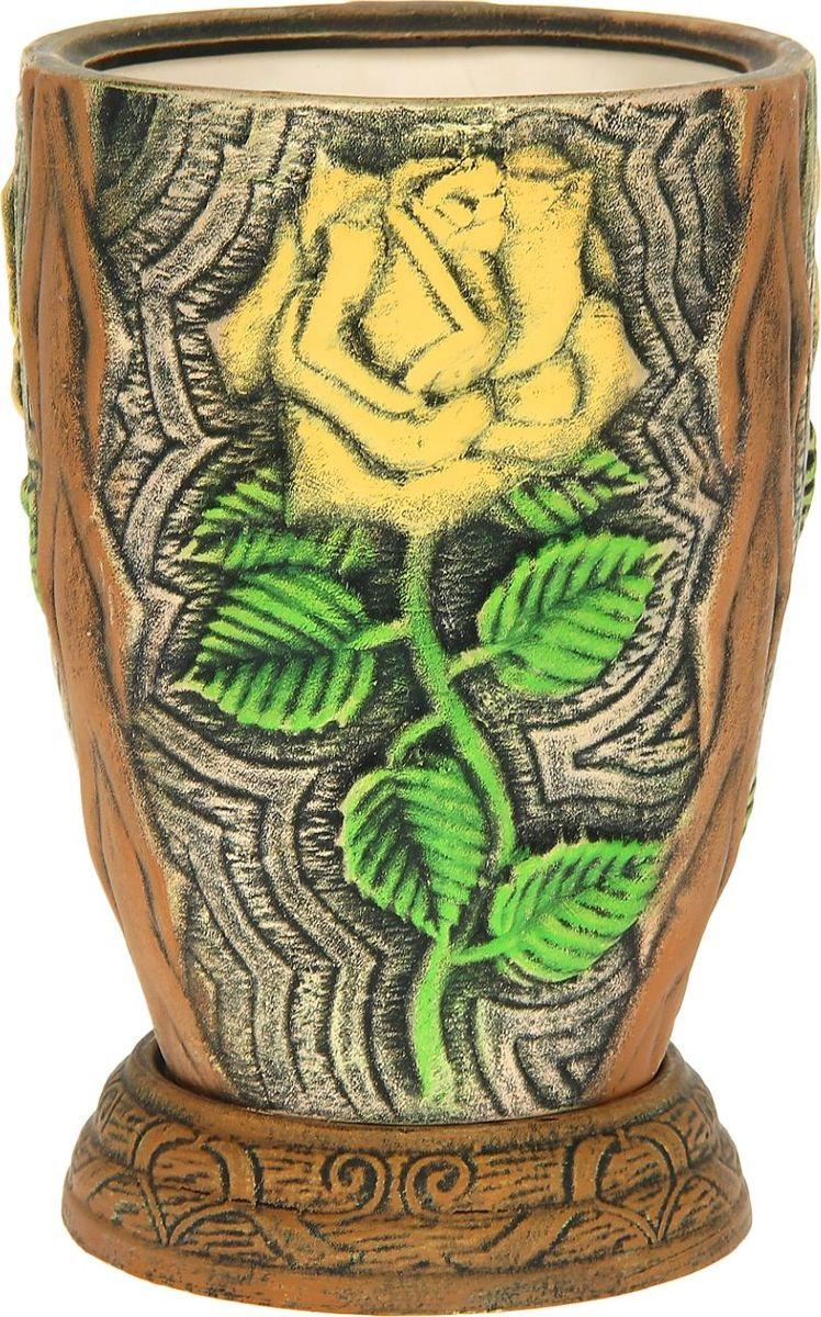 Кашпо Керамика ручной работы Роза, цвет: желтый, 5 л1114303Комнатные растения — всеобщие любимцы. Они радуют глаз, насыщают помещение кислородом и украшают пространство. Каждому из них необходим свой удобный и красивый дом. Кашпо из керамики прекрасно подходят для высадки растений: за счет пластичности глины и разных способов обработки существует великое множество форм и дизайнов пористый материал позволяет испаряться лишней влаге воздух, необходимый для дыхания корней, проникает сквозь керамические стенки! позаботится о зеленом питомце, освежит интерьер и подчеркнет его стиль.
