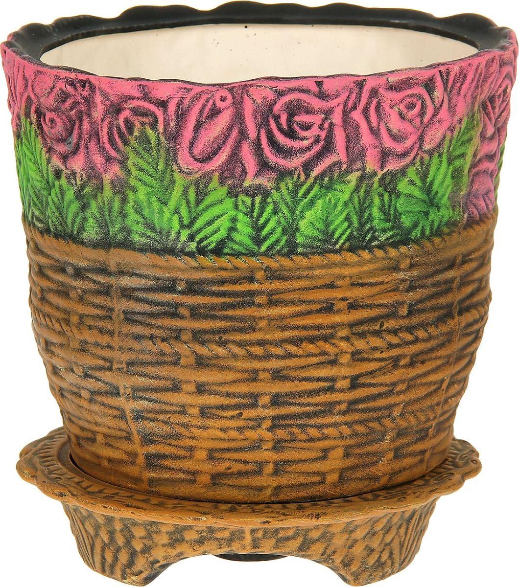 Кашпо Керамика ручной работы Розы в корзине, цвет: красный, 15 л1114306Комнатные растения — всеобщие любимцы. Они радуют глаз, насыщают помещение кислородом и украшают пространство. Каждому из них необходим свой удобный и красивый дом. Кашпо из керамики прекрасно подходят для высадки растений: за счёт пластичности глины и разных способов обработки существует великое множество форм и дизайновпористый материал позволяет испаряться лишней влагевоздух, необходимый для дыхания корней, проникает сквозь керамические стенки! #name# позаботится о зелёном питомце, освежит интерьер и подчеркнёт его стиль.