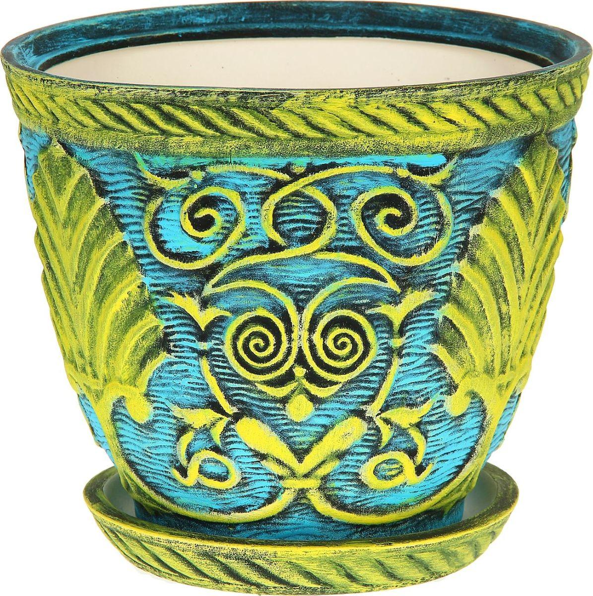 Кашпо Керамика ручной работы Славянское, цвет: желтый, голубой, 5 л1114314Комнатные растения — всеобщие любимцы. Они радуют глаз, насыщают помещение кислородом и украшают пространство. Каждому из них необходим свой удобный и красивый дом. Кашпо из керамики прекрасно подходят для высадки растений: за счёт пластичности глины и разных способов обработки существует великое множество форм и дизайновпористый материал позволяет испаряться лишней влагевоздух, необходимый для дыхания корней, проникает сквозь керамические стенки! #name# позаботится о зелёном питомце, освежит интерьер и подчеркнёт его стиль.