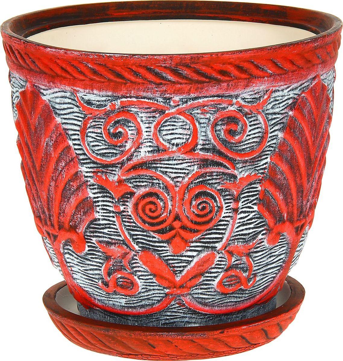 Кашпо Керамика ручной работы Славянское, цвет: красный, белый, 5 л1114315Комнатные растения — всеобщие любимцы. Они радуют глаз, насыщают помещение кислородом и украшают пространство. Каждому из них необходим свой удобный и красивый дом. Кашпо из керамики прекрасно подходят для высадки растений: за счёт пластичности глины и разных способов обработки существует великое множество форм и дизайновпористый материал позволяет испаряться лишней влагевоздух, необходимый для дыхания корней, проникает сквозь керамические стенки! #name# позаботится о зелёном питомце, освежит интерьер и подчеркнёт его стиль.