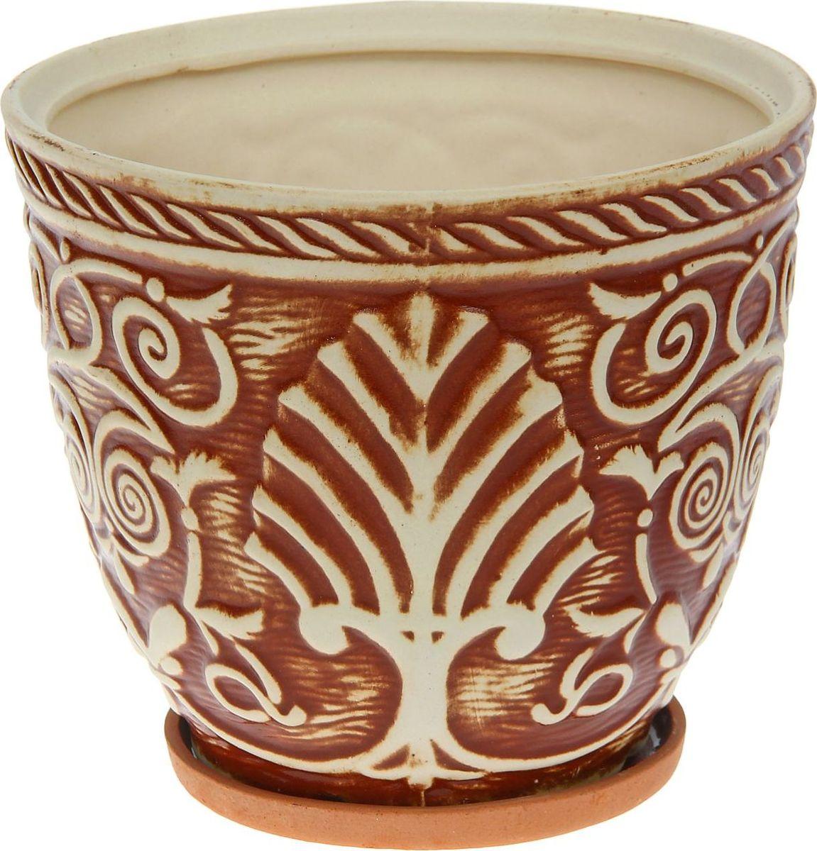 Кашпо Керамика ручной работы Славянское. Глазурь, цвет: коричневый, 5 л1114317Комнатные растения — всеобщие любимцы. Они радуют глаз, насыщают помещение кислородом и украшают пространство. Каждому из них необходим свой удобный и красивый дом. Кашпо из керамики прекрасно подходят для высадки растений: за счет пластичности глины и разных способов обработки существует великое множество форм и дизайнов пористый материал позволяет испаряться лишней влаге воздух, необходимый для дыхания корней, проникает сквозь керамические стенки! позаботится о зеленом питомце, освежит интерьер и подчеркнет его стиль.