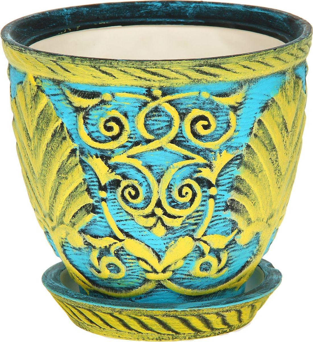 Кашпо Керамика ручной работы Славянское, цвет: желтый, голубой, 2,6 л1114319Комнатные растения - всеобщие любимцы. Они радуют глаз, насыщают помещение кислородом и украшают пространство. Каждому из них необходим свой удобный и красивый дом. Кашпо из керамики прекрасно подходят для высадки растений: за счет пластичности глины и разных способов обработки существует великое множество форм и дизайнов. Пористый материал позволяет испаряться лишней влаге. Воздух, необходимый для дыхания корней, проникает сквозь керамические стенки.