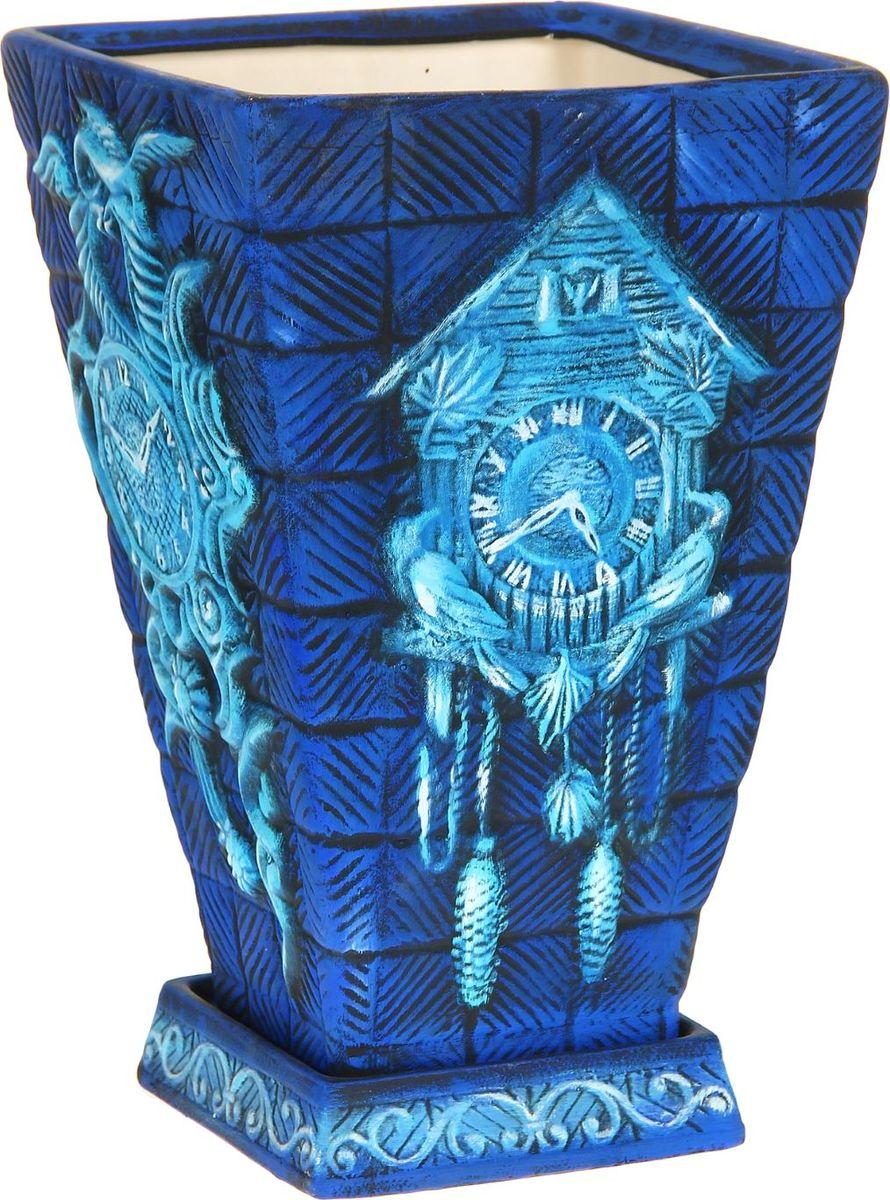 Кашпо Керамика ручной работы Старинные часы, цвет: синий, 19 л1114327Комнатные растения — всеобщие любимцы. Они радуют глаз, насыщают помещение кислородом и украшают пространство. Каждому из них необходим свой удобный и красивый дом. Кашпо из керамики прекрасно подходят для высадки растений: за счёт пластичности глины и разных способов обработки существует великое множество форм и дизайновпористый материал позволяет испаряться лишней влагевоздух, необходимый для дыхания корней, проникает сквозь керамические стенки! #name# позаботится о зелёном питомце, освежит интерьер и подчеркнёт его стиль.