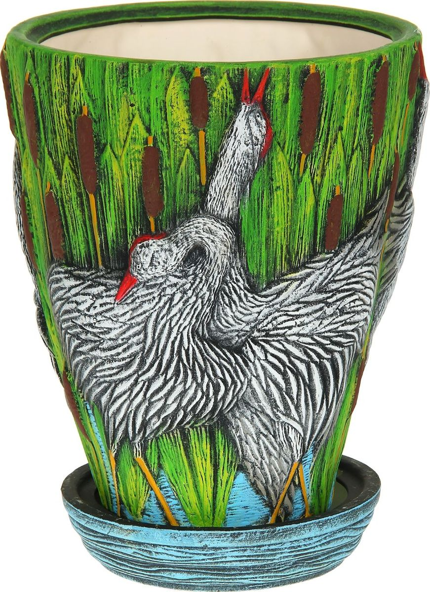 Кашпо Керамика ручной работы Танец журавлей, 19 л1114329Комнатные растения — всеобщие любимцы. Они радуют глаз, насыщают помещение кислородом и украшают пространство. Каждому из них необходим свой удобный и красивый дом. Кашпо из керамики прекрасно подходят для высадки растений: за счёт пластичности глины и разных способов обработки существует великое множество форм и дизайновпористый материал позволяет испаряться лишней влагевоздух, необходимый для дыхания корней, проникает сквозь керамические стенки! #name# позаботится о зелёном питомце, освежит интерьер и подчеркнёт его стиль.