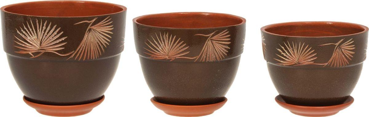 Набор кашпо Премьера. Сосна, цвет: темно-зеленый, 3 предмета1126858Комнатные растения — всеобщие любимцы. Они радуют глаз, насыщают помещение кислородом и украшают пространство. Каждому из них необходим свой удобный и красивый дом. Кашпо из керамики прекрасно подходят для высадки растений: за счёт пластичности глины и разных способов обработки существует великое множество форм и дизайновпористый материал позволяет испаряться лишней влагевоздух, необходимый для дыхания корней, проникает сквозь керамические стенки! #name# позаботится о зелёном питомце, освежит интерьер и подчеркнёт его стиль.