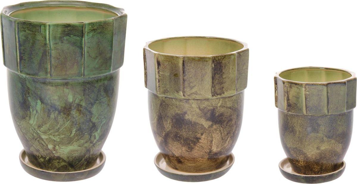 Набор кашпо Башня, цвет: зеленый, 3 предмета1128717Комнатные растения — всеобщие любимцы. Они радуют глаз, насыщают помещение кислородом и украшают пространство. Каждому из них необходим свой удобный и красивый дом. Кашпо из керамики прекрасно подходят для высадки растений: за счёт пластичности глины и разных способов обработки существует великое множество форм и дизайновпористый материал позволяет испаряться лишней влагевоздух, необходимый для дыхания корней, проникает сквозь керамические стенки! #name# позаботится о зелёном питомце, освежит интерьер и подчеркнёт его стиль.