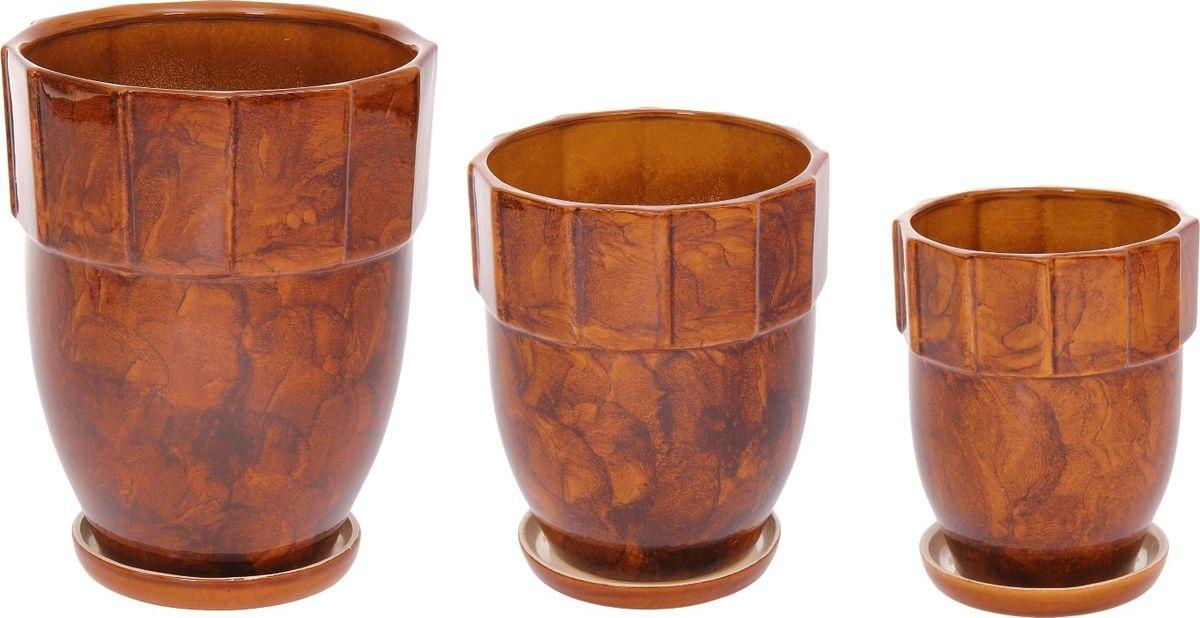 Набор кашпо Башня, цвет: коричневый, 3 предмета1128718Набор кашпо 3 шт. Башня коричневый: 11л, 5л, 1,7л 1128718