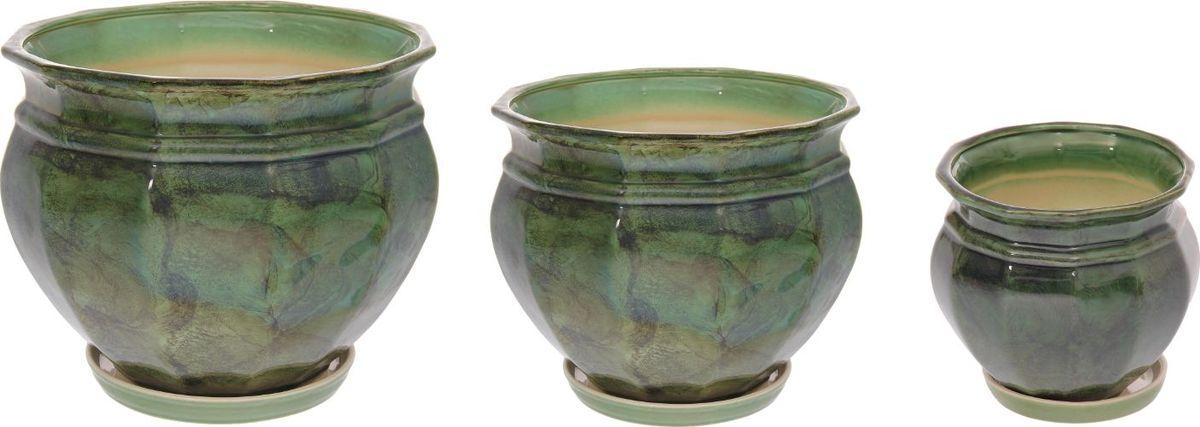 Набор кашпо Мираж, цвет: зеленый, 3 предмета1128735Набор кашпо 3 шт. Мираж зеленый: 14,5л, 5,3л, 2л 1128735