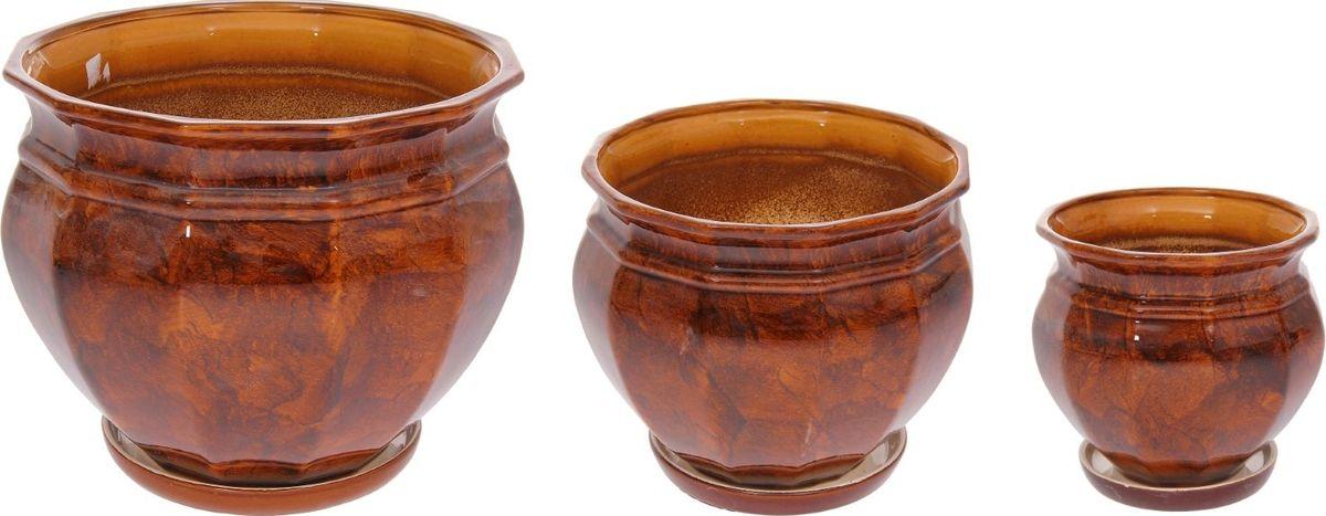 Набор кашпо Мираж, цвет: коричневый, 3 предмета набор сундучков roura decoracion 3 шт 34783