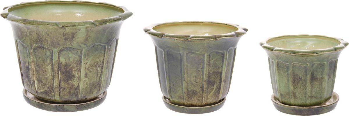 Набор кашпо Ромашка, цвет: зеленый, 3 предмета1128739Набор кашпо 3 шт. Ромашка зеленый: 10,5л, 4,1л, 1,3л 1128739