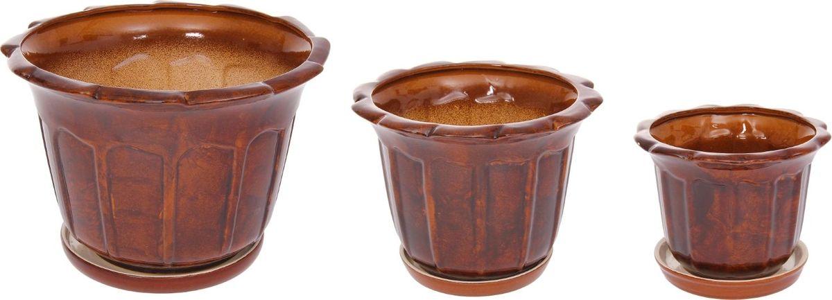 Набор кашпо Ромашка, цвет: коричневый, 3 предмета1128740Набор кашпо 3 шт. Ромашка коричневый: 10,5л, 4,1л, 1,3л 1128740