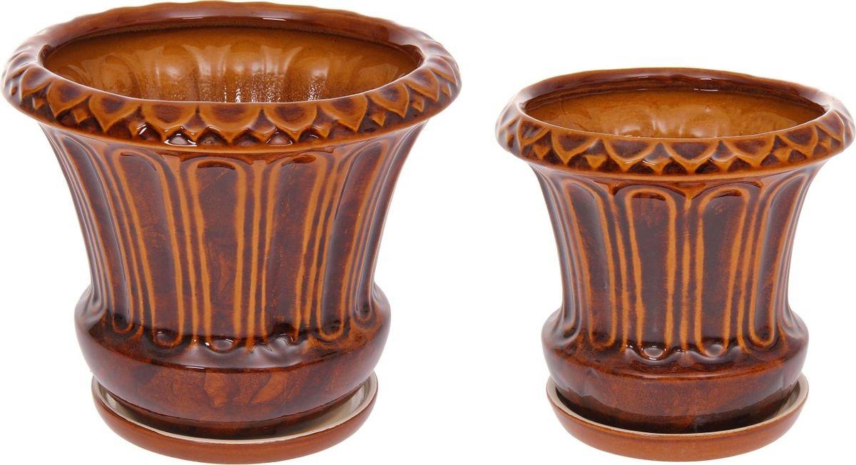 Набор кашпо Тюльпан, цвет: коричневый, 2 предмета1128748Комнатные растения — всеобщие любимцы. Они радуют глаз, насыщают помещение кислородом и украшают пространство. Каждому из них необходим свой удобный и красивый дом. Кашпо из керамики прекрасно подходят для высадки растений: за счёт пластичности глины и разных способов обработки существует великое множество форм и дизайновпористый материал позволяет испаряться лишней влагевоздух, необходимый для дыхания корней, проникает сквозь керамические стенки! #name# позаботится о зелёном питомце, освежит интерьер и подчеркнёт его стиль.