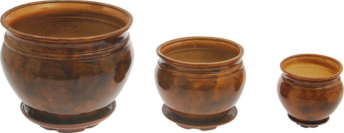 Набор кашпо Элегант, цвет: коричневый, 3 предмета1128752Набор кашпо 3 шт. Элегант коричневый: 15л, 5,5л, 2л 1128752
