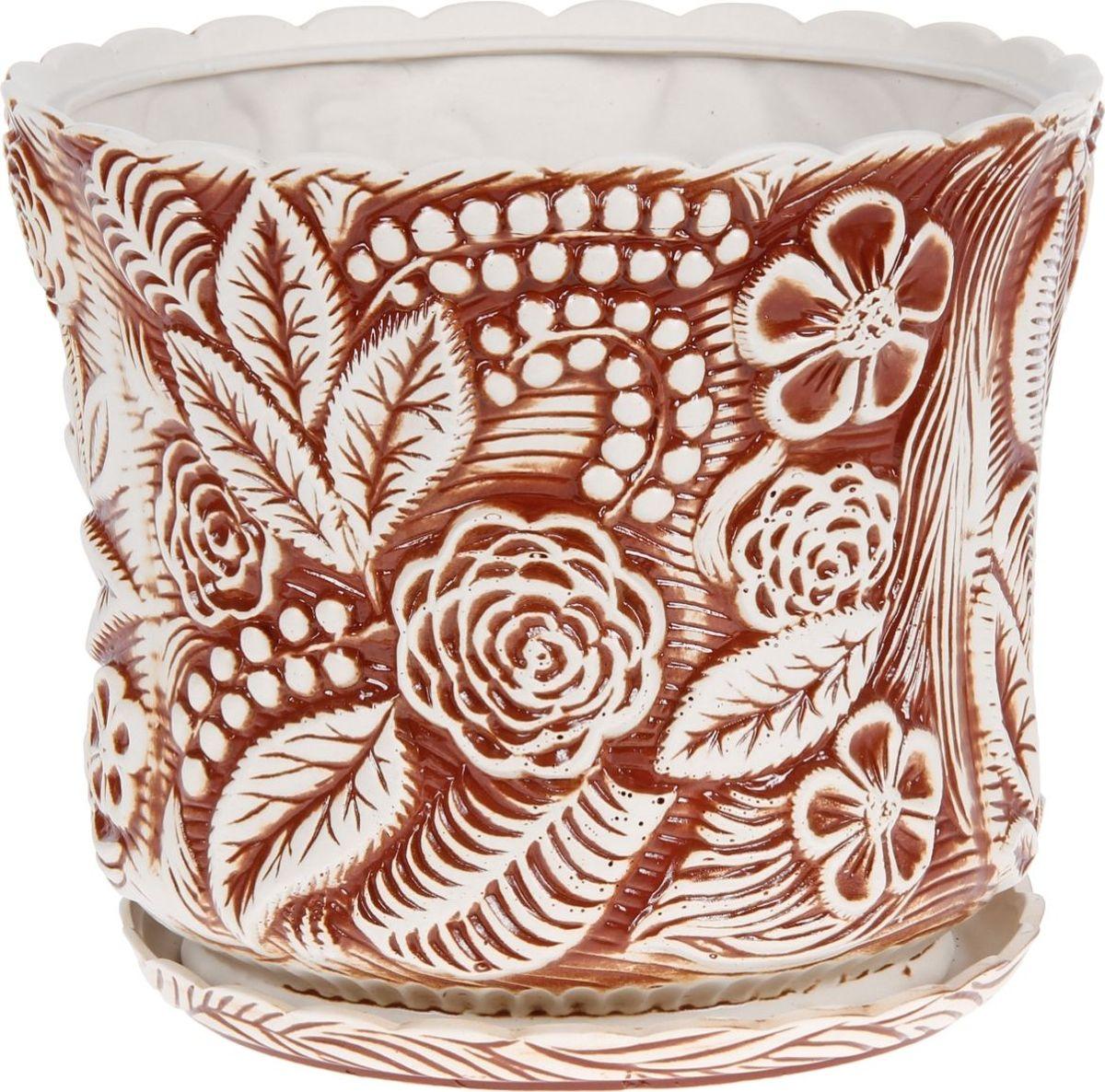 Кашпо Керамика ручной работы Букет, цвет: коричневый, 30 л1130594Комнатные растения — всеобщие любимцы. Они радуют глаз, насыщают помещение кислородом и украшают пространство. Каждому из них необходим свой удобный и красивый дом. Кашпо из керамики прекрасно подходят для высадки растений: за счёт пластичности глины и разных способов обработки существует великое множество форм и дизайновпористый материал позволяет испаряться лишней влагевоздух, необходимый для дыхания корней, проникает сквозь керамические стенки! #name# позаботится о зелёном питомце, освежит интерьер и подчеркнёт его стиль.