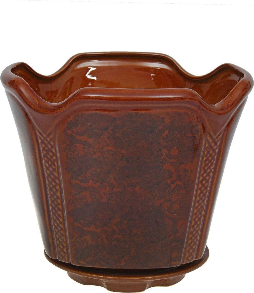 Кашпо Готика, цвет: коричневый, 7,1 л1136758Комнатные растения — всеобщие любимцы. Они радуют глаз, насыщают помещение кислородом и украшают пространство. Каждому из них необходим свой удобный и красивый дом. Кашпо из керамики прекрасно подходят для высадки растений: за счёт пластичности глины и разных способов обработки существует великое множество форм и дизайновпористый материал позволяет испаряться лишней влагевоздух, необходимый для дыхания корней, проникает сквозь керамические стенки! #name# позаботится о зелёном питомце, освежит интерьер и подчеркнёт его стиль.