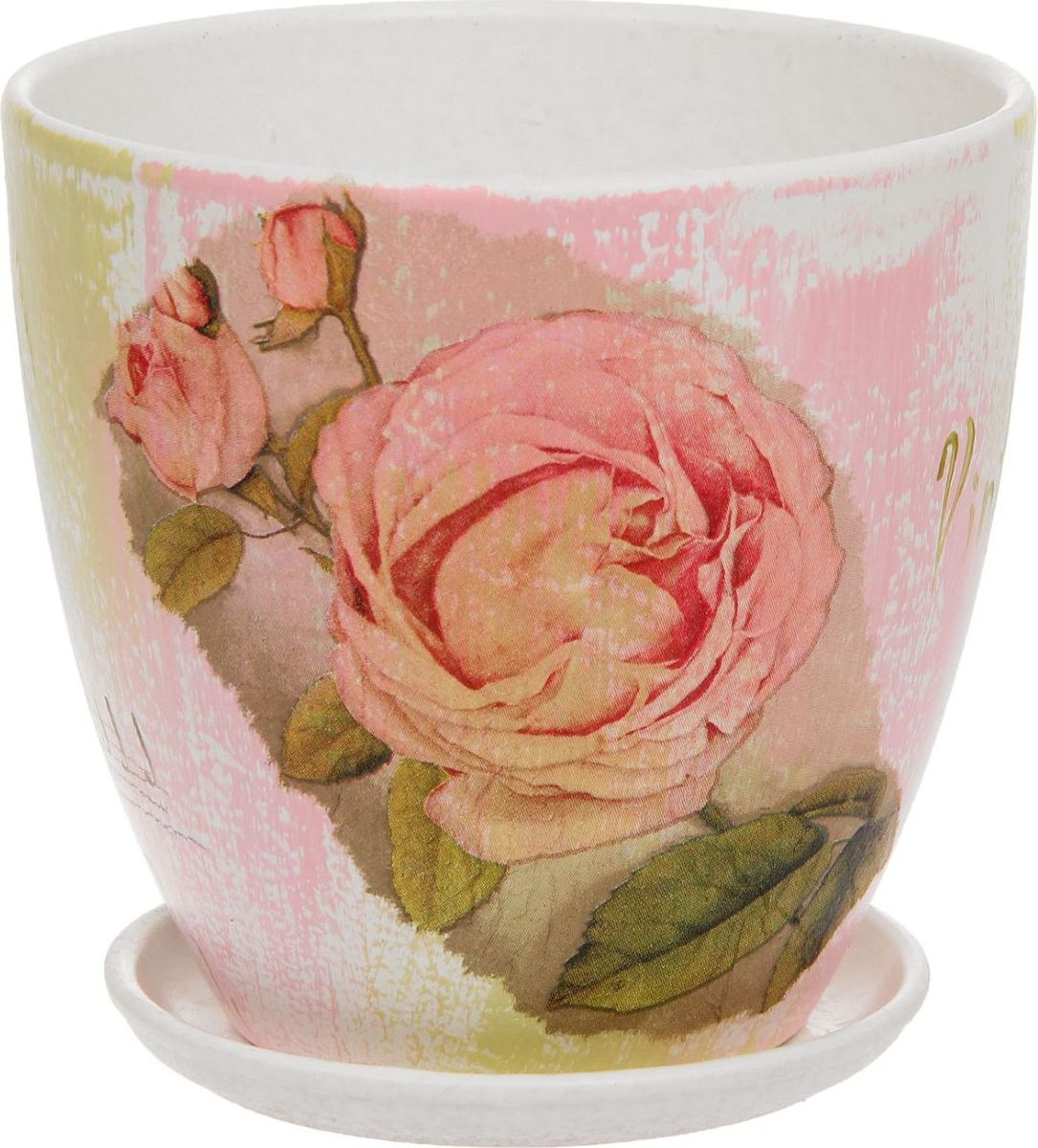 Кашпо Винтаж. Розы, 1,1 л1138554Комнатные растения — всеобщие любимцы. Они радуют глаз, насыщают помещение кислородом и украшают пространство. Каждому из них необходим свой удобный и красивый дом. Кашпо из керамики прекрасно подходят для высадки растений: за счёт пластичности глины и разных способов обработки существует великое множество форм и дизайновпористый материал позволяет испаряться лишней влагевоздух, необходимый для дыхания корней, проникает сквозь керамические стенки! #name# позаботится о зелёном питомце, освежит интерьер и подчеркнёт его стиль.