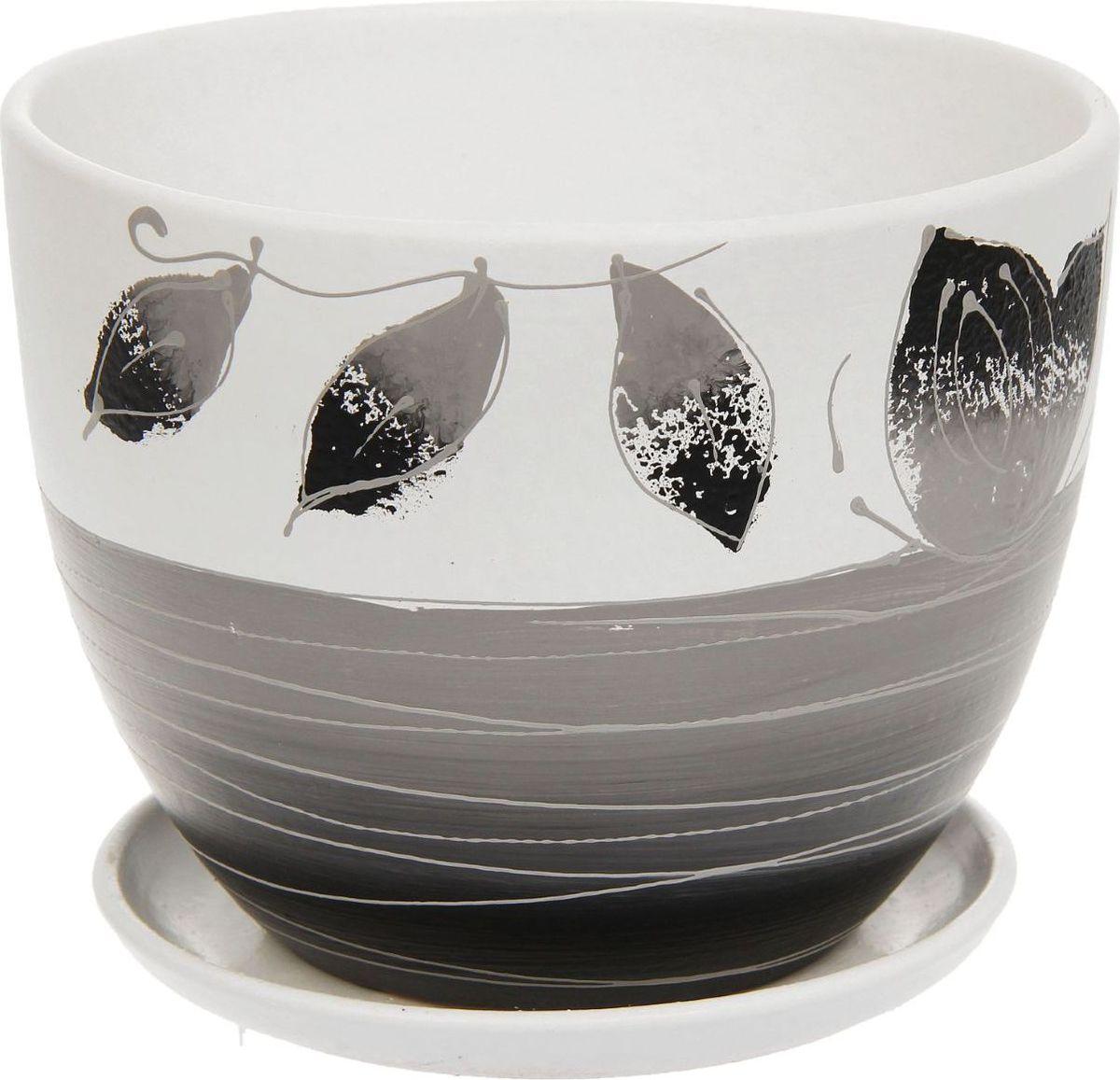 Кашпо Фантазия, цвет: черный, белый, 2 л1138723