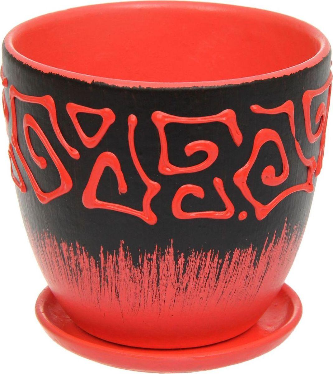 Кашпо Этно, цвет: красный, 0,8 л1138750Комнатные растения — всеобщие любимцы. Они радуют глаз, насыщают помещение кислородом и украшают пространство. Каждому из них необходим свой удобный и красивый дом. Кашпо из керамики прекрасно подходят для высадки растений: за счёт пластичности глины и разных способов обработки существует великое множество форм и дизайновпористый материал позволяет испаряться лишней влагевоздух, необходимый для дыхания корней, проникает сквозь керамические стенки! #name# позаботится о зелёном питомце, освежит интерьер и подчеркнёт его стиль.