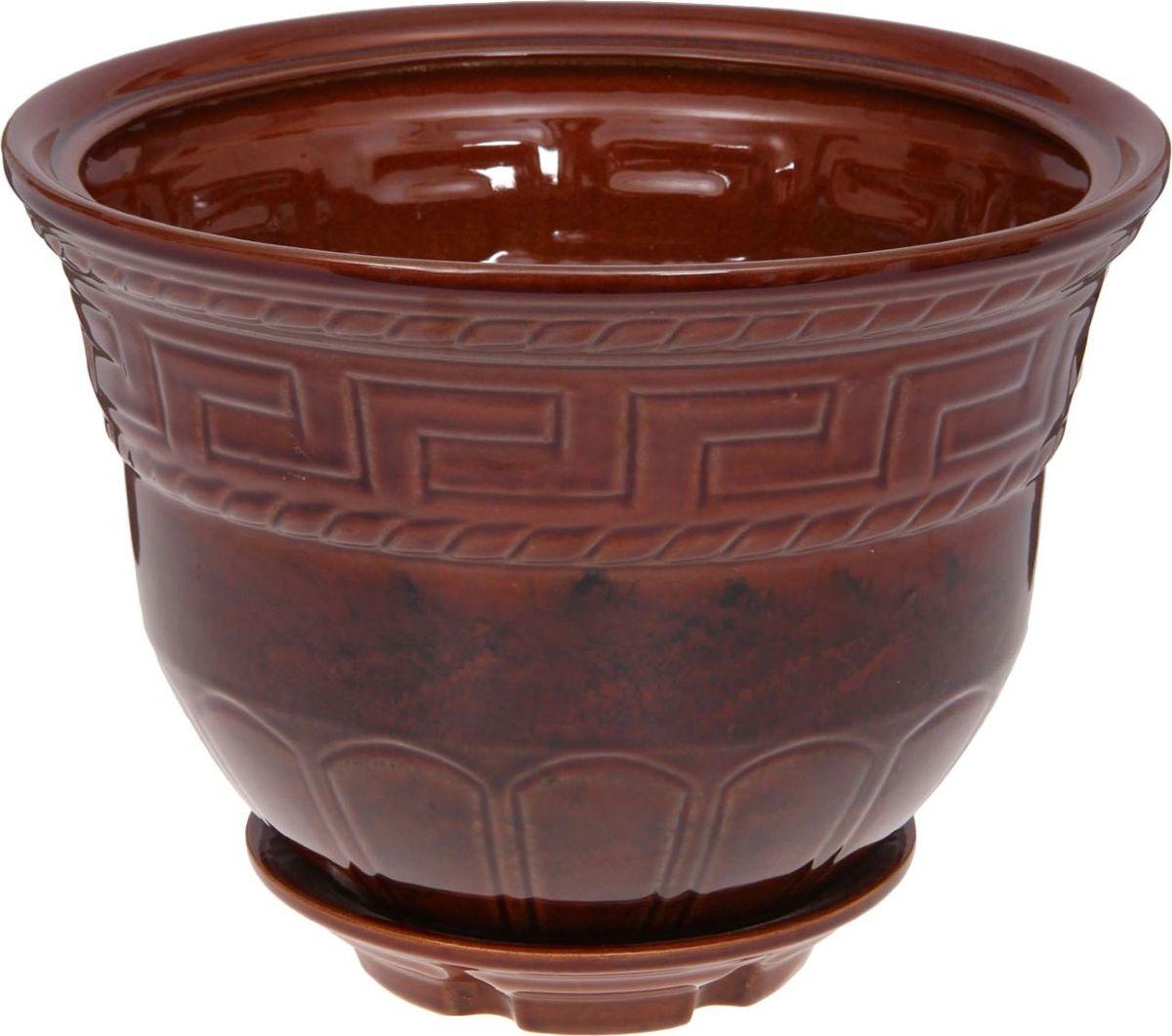 Кашпо Греция, цвет: коричневый, 6,3 л1143874Комнатные растения — всеобщие любимцы. Они радуют глаз, насыщают помещение кислородом и украшают пространство. Каждому из них необходим свой удобный и красивый дом. Кашпо из керамики прекрасно подходят для высадки растений: за счёт пластичности глины и разных способов обработки существует великое множество форм и дизайновпористый материал позволяет испаряться лишней влагевоздух, необходимый для дыхания корней, проникает сквозь керамические стенки! #name# позаботится о зелёном питомце, освежит интерьер и подчеркнёт его стиль.