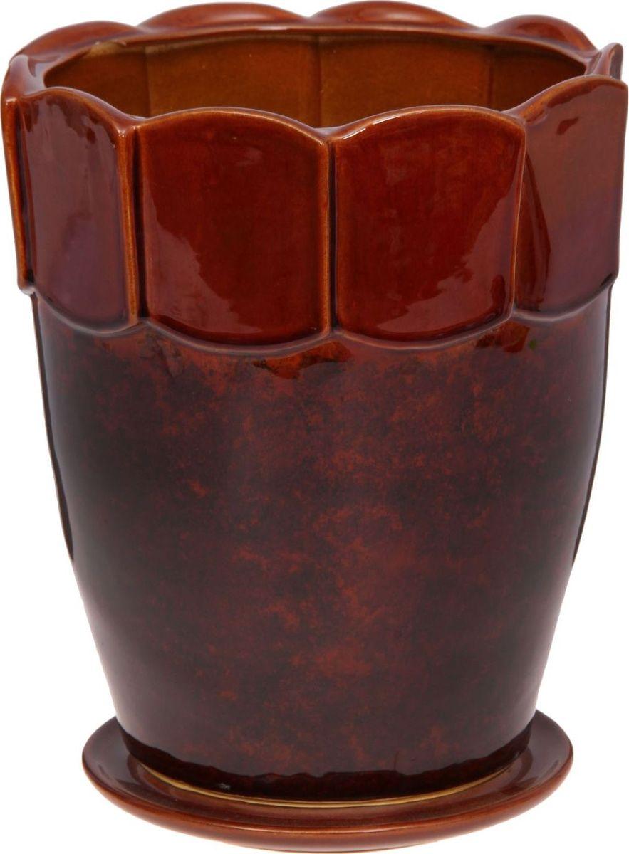 Кашпо Визит, цвет: коричневый, 10 л1143906Комнатные растения — всеобщие любимцы. Они радуют глаз, насыщают помещение кислородом и украшают пространство. Каждому из них необходим свой удобный и красивый дом. Кашпо из керамики прекрасно подходят для высадки растений: за счёт пластичности глины и разных способов обработки существует великое множество форм и дизайновпористый материал позволяет испаряться лишней влагевоздух, необходимый для дыхания корней, проникает сквозь керамические стенки! #name# позаботится о зелёном питомце, освежит интерьер и подчеркнёт его стиль.